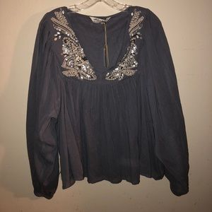 ALL SAINTS Dana Top in Blue SIZE 8